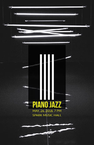 Black and White Neon Jazz Music Concert Poster Concert Poster