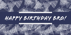 White and Blue Happy Birthday Card Friends