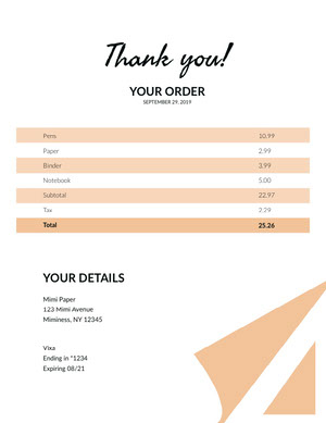 Beige and White Paper Shop Invoice 청구서