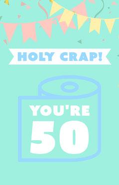 Cyan Funny 50th Birthday Card with Bunting Jokes