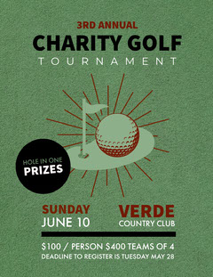 Green and Black Charity Golf Tournament Flyer Fundraiser