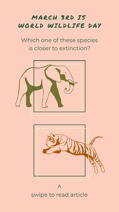 World Wildlife Day Extinction Awareness Instagram story Quiz Night Poster
