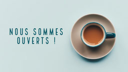 Blue Coffee We're Open Facebook Cover