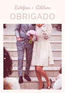 light pink wedding thank you cards  Cartão Obrigado pela presença