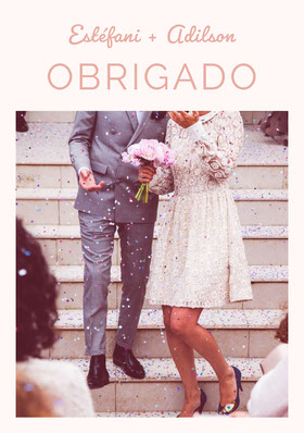 light pink wedding thank you cards  Cartão de agradecimento