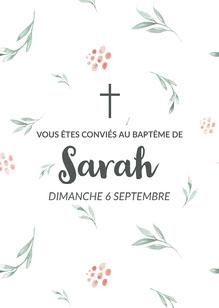 Green and Pink Floral Baptism Invitation Card  Invitation
