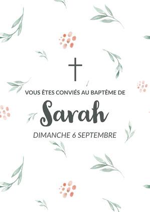 Green and Pink Floral Baptism Invitation Card  Invitation de baptême