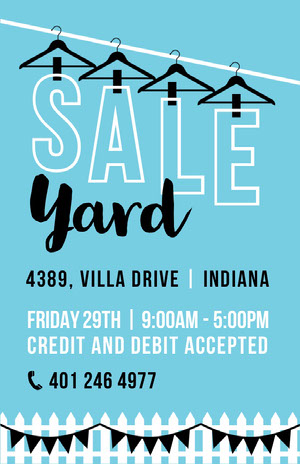 Blue, White and Black, Light Toned Yard Sale Poster Yard Sale Sign