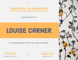 Orange and Blue Flower Pressing Workshop Certificate of Completion  Certificate of Completion
