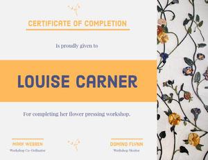 Orange and Blue Flower Pressing Workshop Certificate of Completion  Certificado de Finalización