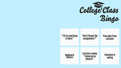 Blue College Class Bingo Zoom Background College
