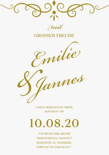 gold and white wedding cards Hochzeitsdankeskarten