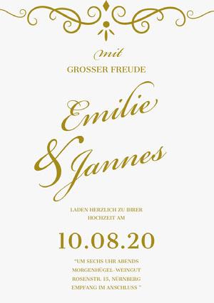 gold and white wedding cards Hochzeitseinladung
