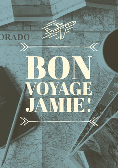 Blue Bon Voyage Card with Map Music Tour