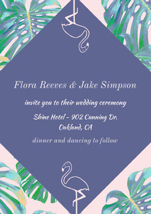 Violet and Green Wedding Invitation Bryllupskort