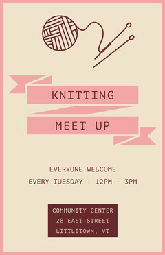 Pink Knitting Poster Meeting Flyer