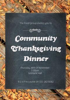 Fall Community Thanksgiving Dinner Invite Thanksgiving