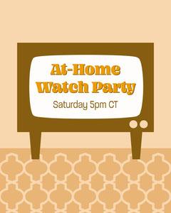 TV Screen Retro Illustration Event Announcement Stream
