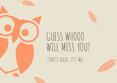 Red and Beige, Light Toned Farewell Card Jokes