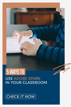 Layered squares '5 Ways to Use Adobe Spark' Pinterest Post Education