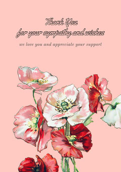 Pink and Colorful Poppies Thank You Card Funeral