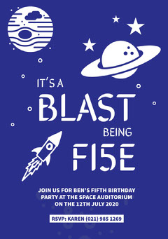 Blue Outer Space Style Boy's Birthday Party Invitation Card Space
