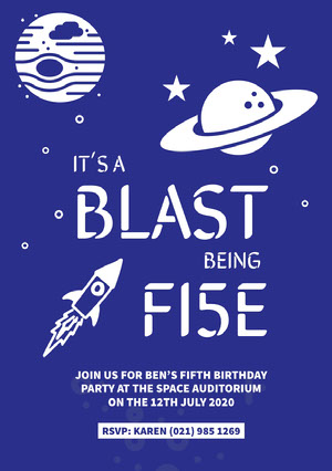 Blue Outer Space Style Boy's Birthday Party Invitation Card Party Invitation
