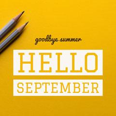 Yellow and White Hello September Instagram Post Hello