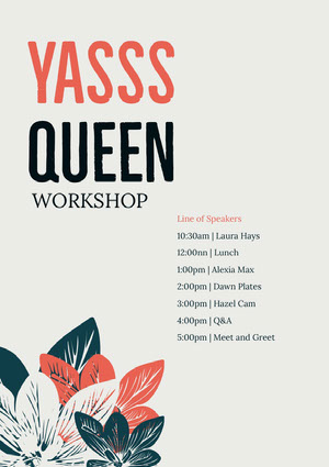 Grey and Red Queen Workshop Program Event Program