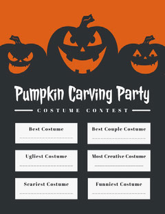 Halloween Pumpkin Carving Party Costume Card Halloween Costume Contest