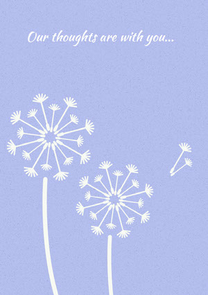 Blue Illustrated Sympathy Card with Dandelions Condoleancekaart