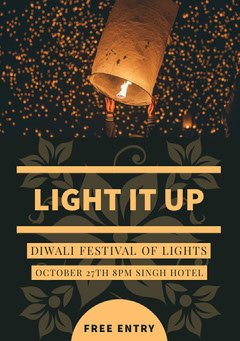 Black and Gold, Dark Toned, Diwali Party Poster Holiday Party Flyer