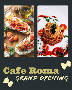 Black With Tasty Dishes Grand Opening Social Post Grand Opening Flyer