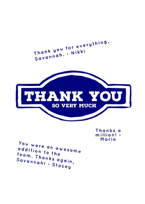 blue simple group thank you card Group Thank You Card