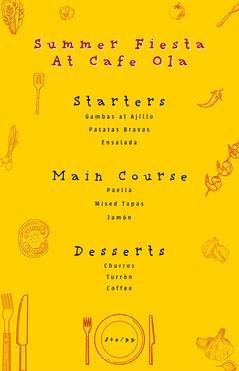 yellow red Spanish food set menu restaurant poster Coffee Menu