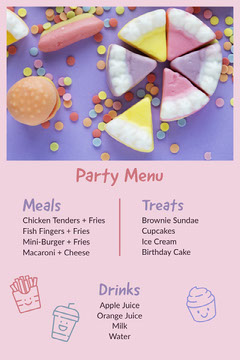 Colorful and Pink Party Menu Drink Menu