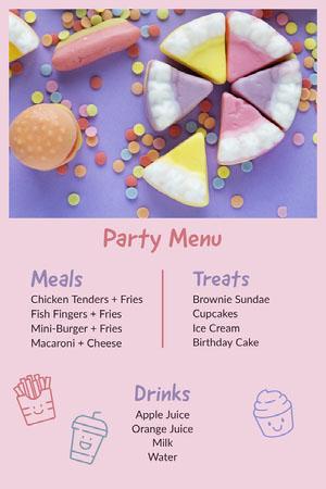 Colorful and Pink Party Menu Drink Menu