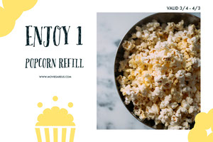 White and Yellow Popcorn Sale Flyer Kupon