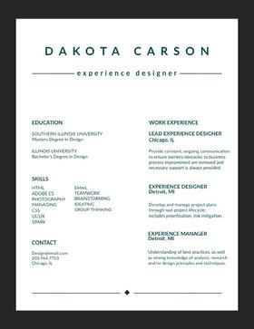 DAKOTA CARSON Currículum moderno