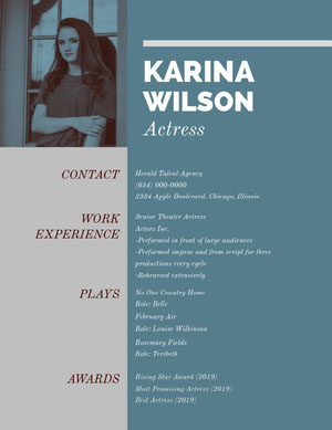Grey and Blue Professional Resume Acting Resume