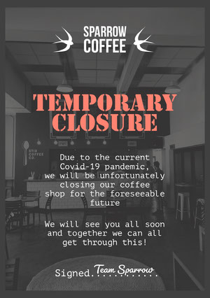 Black and White Sparrow Cafe Closure Flyer Advertisement Flyer