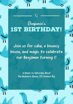 Blue Baby Birthday Party Invitation Card Bird