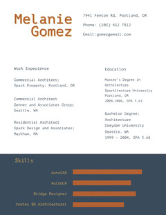 Brown and Blue Architect Resume Architecture
