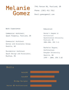 Brown and Blue Architect Resume Creative Resume