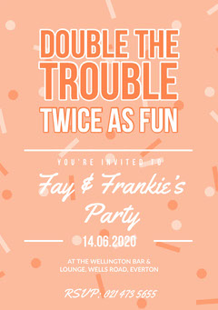 Orange Twins Birthday Party Invitation Card with Confetti Confetti