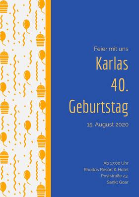Karlas<BR>40.<BR>Geburtstag  Einladung zum Geburtstag