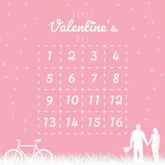 pink hearts valentines bingo Couple