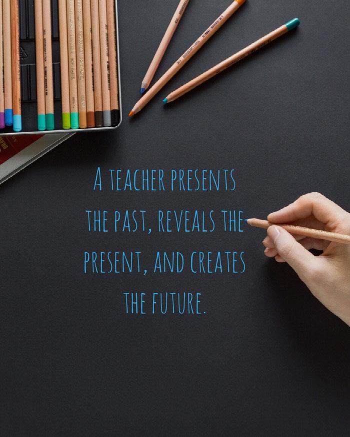 Blue Blackboard Handwriting Teacher Social Media Graphic Teacher Appreciation Messages