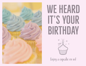 Pastel Colored Bakery Birthday Coupon Bon