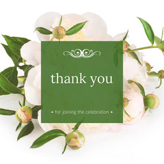 Green Floral Thank You for Participating Square Instagram Graphic Thank You Poster